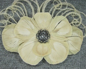 Bleached Ivory Peacock Feather Hair Clip Fascinator with Dark Silver Accent Piece and Rhinestone