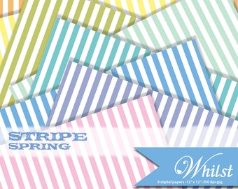 Spring digital paper stripe scrapbooking orange yellow blue green pink purple aqua : B0193c v301 rainbow