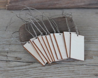 Wooden Tags / Set of 10 / Gift Tags / Rectangle Tags / Wooden Labels