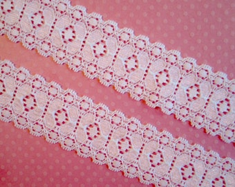 "White Stretch Lace.  1 3/16"" Width.  3 Yards"