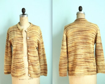 vintage 30s Bradley orange variegated knitted cardigan / mohair sweater / wool / size medium to large