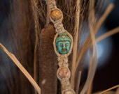Macrame Hemp Zen Bracelet Turquoise Buddha Brown Shaded Beads