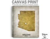 Arizona Map Stretched Canvas Print - Home Is Where The Heart Is Love Map - Original Personalized Map Print on Canvas