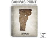 Vermont Map Stretched Canvas Print - Home Is Where The Heart Is Love Map - Original Personalized Map Print on Canvas