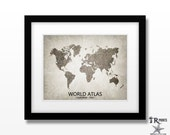 World Atlas Map Art - Home Is Where The Heart Is Love Map - Original Custom Map Art Print Available in Multiple Size and Color Options