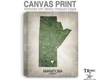 Manitoba Canada Map Stretched Canvas Print - Home Is Where The Heart Is Love Map - Original Personalized Map Print on Canvas
