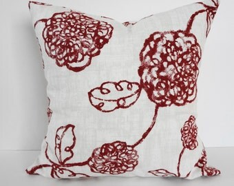 Red and White Designer Magnolia House Fashions Pillow Cover, Stan Cathell Design Cushion, Red, White, Cushion Cover