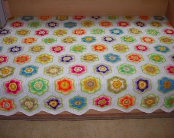 Granny Square Crochet Blanket Twin Size Afghan