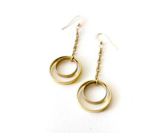 Planetary Rings Geometric Gold Circle Earrings