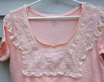 Vintage Edwardian lace embellished peach blouse retro