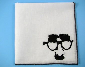 HANKIE - IN DISGUISE shown on super soft white cotton hanky-or choose from any solid color or plaids shown in pics