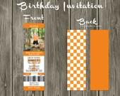 Tennessee Vols Football Ticket Digital Birthday Invitation