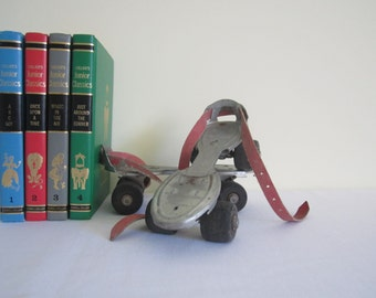 VINTAGE English DIANA roller skates - pair, set of 2, child, metal adjustable, strap on