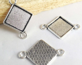 Cabochon Base Settings -20pcs Antique Silver Square Bezel Tray Charm Pendants 15x15mm AB203-5