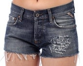 SALE High Waisted Denim Shorts . TEARED Distressed Well Worn Vintage Frayed Faded Dark Wash Blue Denim Shorts Low Waist Denim Jean . Small