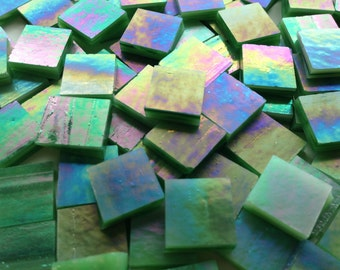 """Mosaic Tiles - 100 1/2"""" Squares - Iridescent Green Stained Glass - Hand-Cut"""