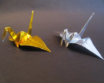 100 Metllic Silver Foil Gold Foil Small Japanese Origami Crane Paper Crane
