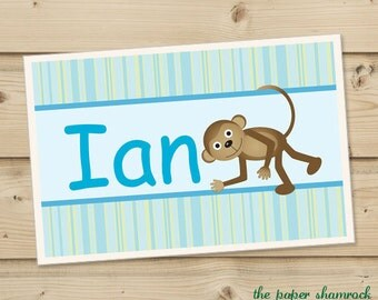 Monkey Kids Personalized Placemat, Customized Placemats for kids, Kids Placemat, Personalized Kids Gift