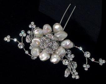 Pearl and swarovski hair pin - Sumptuous pin