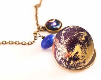 GALAXY NECKLACE, Earth Locket Necklace, Space Necklace, Galaxy Locket, World Necklace, Universe Necklace, Planet Necklace,Gift, Solar system