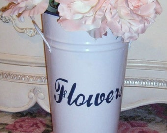 TAKE 40% Off...Vintage, Up-cyled Flower Can, Metal Bucket, Floral Bucket, Shabby Chic, Farmhouse, Country French