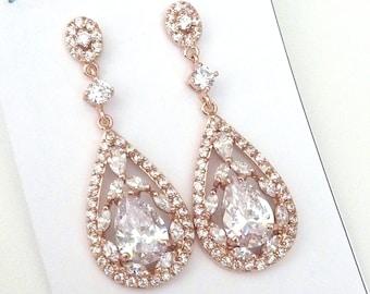 Bridal Earrings - Rose Gold Plated Big Fancy Peardrop Cubic Zirconia Post Earrings