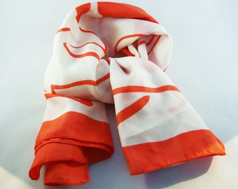 Vintage White & Red Floral Print Scarf - Italy