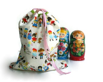 Kawaii Cute Dolls Toy Bag/Library Bag/Pyjama Bag - Drawstring Fully Lined Cotton Rainbow Cute Dolls Bag