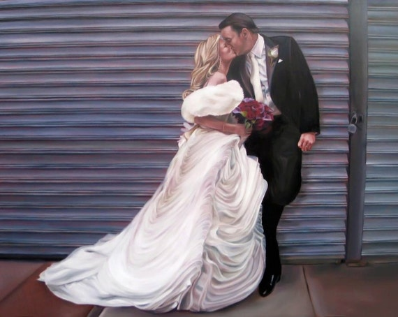 CUSTOM PORTRAIT - Oil Painting - Wedding Portrait - Custom Painting - Great Gift - 24x36