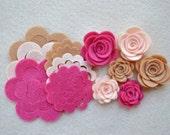 18 Piece Die Cut Felt DIY 3D Roses in Small and Medium, Dusty Rose