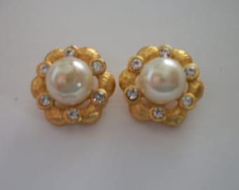 vintage pair of Rhinestone and Pearl post earrings