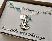 Nautical anchor necklace thank you for being my anchor gift message card sterling silver jewelry best friends beach wedding helper gift