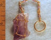 Amethyst Crystal Wire Wrapped Key Chain with Amethyst Beads