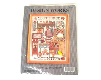 Vintage Cross Stitch Sampler Picture Kit I'm not cluttered I'm Country - DIY Sewing - Funny Retro