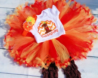1st Thanksgiving tutu- Baby Turkey Dress-Thanksgiving tutu- Turkey tutu- First Thanksgiving tutu-Thanksgiving dress- Girl Thanksgiving shirt