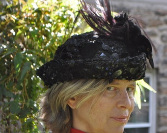 Edwardian Raven Hat/Antique Black Sequined Silk Hat/Feathered Hat/Victorian Steampunk Halloween Statement Hat