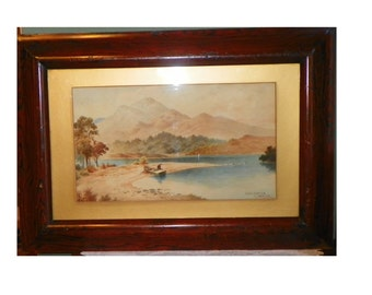 Antique Art Watercolor By CJ Norton of Loch Katrine Wall Hanging Listed artist on paper under glass