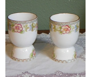 Antique set of 2 EGGCUPS Noritahke Nippon The Flamengo Egg Cups porcelain