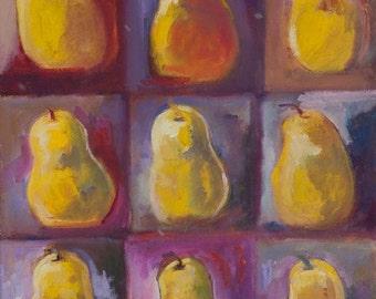 Painting-Oil Painting-Pears Art-Fruit Art-Kitchen Art-Original Art by Diann
