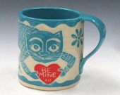 Valentine's Day - Sgraffito CAT MUG Art Pottery,Runaway Mouse - Turquoise LOVE Note,Coffee Tea Cup Mug - Mexican Folk Art Inspired