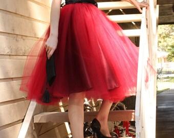 Deep red , burgundy , oxblood  tulle skirt, tutu