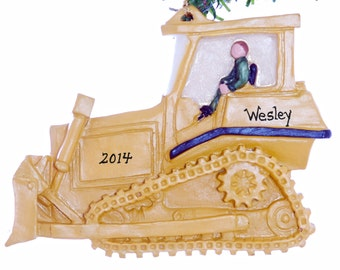 Personalized Christmas Bulldozer ornament for little boys and big boys, yellow dozer is personalized free with your choice of name (m4)