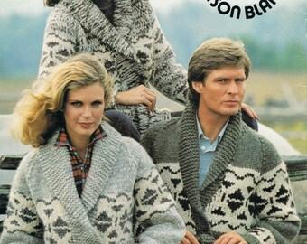 Cowichan Sweater White Buffalo Wool  Coat Sizes 34 - 44 Men & Women's Digital KNITTING PATTERN Instant Download