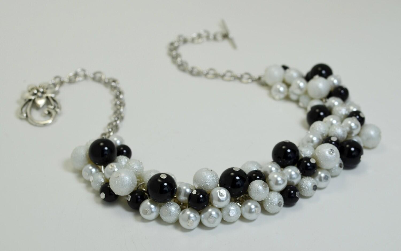 black and white cluster necklace pearl bridal necklace. Black Bedroom Furniture Sets. Home Design Ideas
