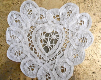 White Battenburg Lace Heart Shaped Doilies