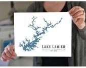 Lake Lanier Georgia Wall Art Print - Atlanta - Souvenir Gift Housewarming Print - Sidney Lanier - Alpharetta, Gainseville, Cumming