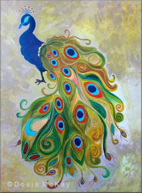 Peacock acrylic paintings - photo#42
