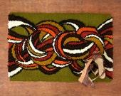 Retro Latch Hook Rug - Mod Door Mat - Mid Century Rug - Organic Swirls - Earth Tone Colors - Olive Green, Brown