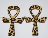 Large Wood Ankh Fabric Covered Stud Earrings - Cheetah
