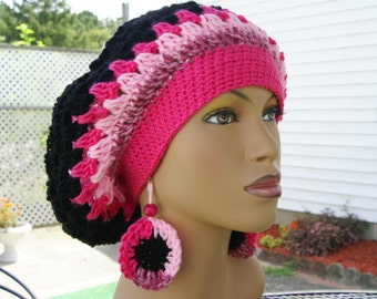 Crochet Tam Crochet Hat Slouchy with Matching Earrings -Pink with Black